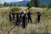Megami cast and crew filming on location east of Grand Forks; Photo, Mona Mattei