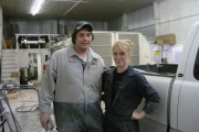 Tammy McRitchie at Kootenay Car Care with an employee; Photo, submitted