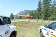 Helicopter prepping for take off to pick up recovered victim's body; Photo, Mona Mattei
