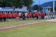 Team Canada stands at attention for the national anthems; Photo, Mona Mattei