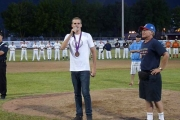 Olympian Richard Weinberger was the special guest throwing the first pitch of the tournament alongside GFI co-ordinator Gerry Foster; Photo, Mona Mattei