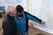 Pat Zorn shows Jean Johnson the maps being developed for the ATV riders on trails around the region; Photo, Mona Mattei