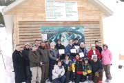 Contributors gathered with representatives from Phoenix Ski Hill Society to open the ski patrol building on Jan. 15; Photo, Submitted