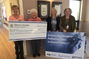 Boundary-Similkameen MLA Linda Larson was present to present a cheque during Thursday's announcement to improved access to hospice palliative care in Grand Forks and Osoyoos/Oliver.
