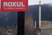 Roxul installing new technology to help with odour and blue smoke emissions from the Grand Forks smoke stack. Photo Erin Perkins.
