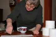 Lorraine Dick, coordinator for the Grand Forks Community Garden, will be at this year's Seedy Saturday event demonstrating how to use worms to create compost. Last year she demonstrated how to make your own seed tapes out of toilet paper. Photo Erin Perkins.