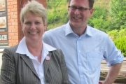 Local NDP MLA Katrine Conroy with NDP leader Adrian Dix