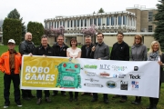 Sponsors gathered in Castlegar Campus on the eve of the event include, (L-R) Ralph Lunn (Zellstoff Celgar), Brad Pommen (Nelson Tech Club and RoboGames founder), Blair Weston (Fortis BC), Ken Kalesnikoff (Kalesnikoff Lumber), Erin Handy (KAST), Elroy Switlishoff (Institute of Electrical & Electronics Engineers Association of Pro Engineers & Geoscientists), Stephen Johnson (Columbia Power), Anders Malpass (Drop Designs), Carol Vanelli-Worosz (Teck Operations), and Maggie Keczan (Selkirk College).