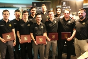 Seventeen of the 24 Selkirk College Saints hockey players received Academic Awards for their performance in the classroom during the 2016-2017 BCIHL season. Some of those picking up the award included (L-R) Troy Maclise, Jordan Rauser, Derek Georgopoulos, Jonas Horvath, Dane Feeney, Justin Kanigan (assistant coach), Austin Wells, Kyle Wheeler (assistant coach), Gordon Campbell and Brent Heaven (head coach). — Selkirk College photo