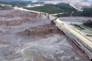 The damage to Vancouver-based Imperial Metals, Mount Polley mine tailings pond dam is massive. — Photo courtesy Huffington Post