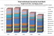 A screen shot of a graph showing local food bank usage from the report issued by the Golden Food Bank.