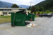 The dumpsters at Selkirk College Tenth Street Campus are becoming a concern for college staff and Bear Aware. — Photo courtesy Selkirk College