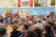 The gymnasium at W.E. Graham in Slocan was packed with people Tuesday protesting the potential closure of Winlaw Elementary School. — Submitted photo
