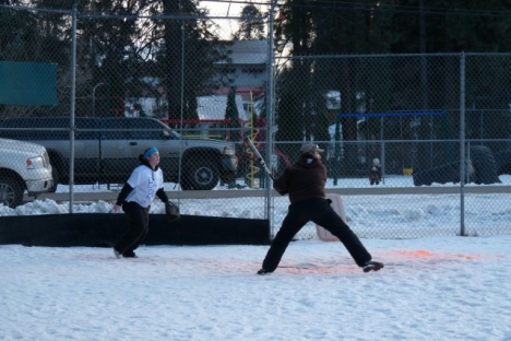 The Christina Lake Fire Hall snow pitch team takes on Grand Forks Blue Balls at Winterfest Jan. 22 - 24; Photo, Mona Mattei