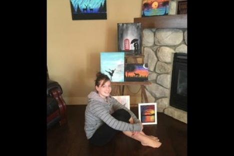 Local teen sells paintings for college funds