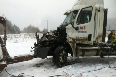 No one injured in truck vs train collision