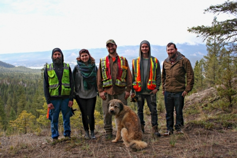 The crew building Mineral Mountain Ziplines at Fairmont Hot Springs Resort stopped for a photo before commencing work Monday. — Submitted photo