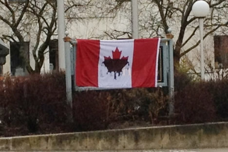 The Canadian Flag posted outside Nelson City Hall says it all about what&#039;s happening to the environment.  The Nelson Daily photo